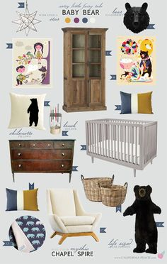 California Peach: Baby Bear | Nursery -- Gender Neutral, Boy, Girl, Bears, Goldilocks, Grey, Baby Room, Nursery, Dark Wood, Toddler Room, Wild, Natural, Nature, Decor, Nursery, Baby Room, Style Board, Mythic Paint, Oeuf, Crib, Non-Toxic, Green 0VOC, Eco Friendly, Organic