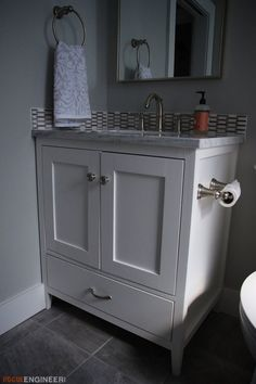 With American Standard, having a functional and stylish bathroom vanity is no longer just a wish. See how Jamison and Jamie from Rogue Engineer built their dream vanity! Diy Vanity, 30 Inch Bathroom Vanity, 30 Inch Vanity, Small Bathroom, Bathroom Ideas, Wooden Bathroom, Bath Ideas, Diy Ideas, Bathroom Flooring