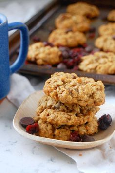 These Oatmeal Cranberry Pecan Cookies have a chewy, moist consistency and are packed with a mix of favorites: rolled oats, chocolate, pecans, and cranberries. Cranberry Cookies, Pecan Cookies, Oatmeal Cookies, Yummy Cookies, Cranberry Scones, Cookie Desserts, Just Desserts, Cookie Recipes, Dessert Recipes