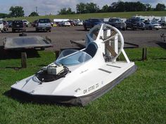 Plans - in Photo: Builder: Dean Pollee Built: 1979 Thrust: Cuyuna Lift: Briggs & Stratton Includes 2 sheets of detailed technical drawings, full-size rib templates, and our Hovercraft Construction and Operation manual. Should you choose to order the plans Boat Building Plans, Boat Plans, Hoover Craft, Hovercraft Diy, Boat Crafts, Drift Trike, Jon Boat, Pedal Cars, Boat Design