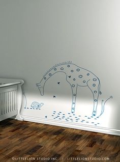 Giraffe and lion (see link) wall decal