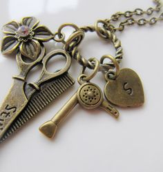 Hairstylist initial necklace, by romanticcrafts, $18.00