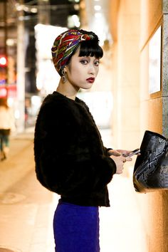 Loving the head scarf! - Japanese street fashion style