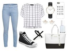 """645."" by itsmy123 ❤ liked on Polyvore featuring Emi Jewellery, Mother, Myne, Converse, MICHAEL Michael Kors, Daniel Wellington, Casetify, Pamela Love and Essie"