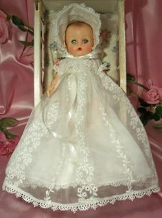"""Custom Handmade for Vintage Vogue Ginnette 8"""" Baby Doll Ensemble: Embroidered Organdy Christening Gown, Bonnet, Slip & Diaper. Special Orders accepted."""