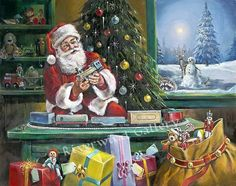 Christmas Is Coming.... by Ralph McDonald...... $110.00 Giclee On Archival Rag Paper Signed & numbered Edition of 2000 Size: 20 x 16 shipping included in price Christmas Scenes, Christmas Past, Christmas Is Coming, Vintage Christmas, Christmas Posters, Vintage Santas, Christmas Cards, Hanging Christmas Lights, Decorating With Christmas Lights