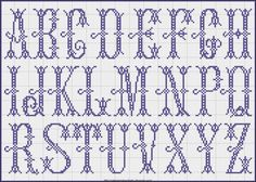 Free Easy Cross, Pattern Maker, PCStitch Charts + Free Historic Old Pattern Books: Fr - Alexandre Cross Stitch Letters, Cross Stitch Samplers, Cross Stitch Charts, Cross Stitching, Cross Stitch Embroidery, Embroidery Patterns, Stitch Patterns, Easy Cross, Simple Cross Stitch