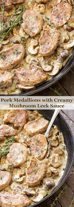 Pork Medallions with Creamy Mushroom Leek Sauce sounds fancy, but is really just an easy, one pan, comfort food dinner that's on the table in 30 minutes!