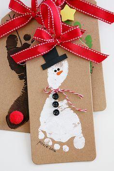 Snowman Footprint Christmas Ornament | Handprint and footprint Christmas Ornaments