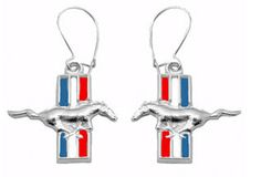 A004ER-ENSS STERLING SILVER FORD MUSTANG JEWELRY EARRING DANGLES WITH RED WHITE AND BLUE BACKGROUND.  BUY THIS ITEM NOW AT LANNANJEWELRYSERVICES.COM