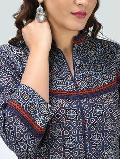 Blue Ajrakh Printed Cotton Kurta - All About Neck Designs For Suits, Neckline Designs, Dress Neck Designs, Designs For Dresses, Blouse Designs, Churidar Neck Designs, Kurta Neck Design, Simple Kurti Designs, Kurta Designs Women