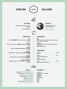 Center alignment / Like the mint color - #Resume by Evelien Callens, via Behance