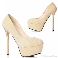 Platform Pumps With Thick Soles Gold Wedding Shoes With High Heels Round Toe High Heeled Shoes Red Bottom Women'S Shoes Prom/Evening Shoes Italian Shoes Online Ivory Bridesmaid Shoes From Andybridal, $29.32| Dhgate.Com