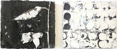 Jupp Linssen: Diptychon 2012, Öl und Papier auf Leinwand, 33 x 80 cm