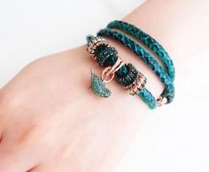 Snake Leather Bracelet beaded / leather bead/ wrapped/ by nayring