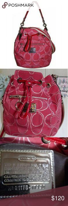 a54b0ed87c74 Coach Poppy Ruby Red Lurex Cinch bucket hobo bag Coach Poppy Signature  collection