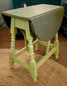 Vintage Reclaimed Paint Drop Leaf Side Accent Table, for more information call (828) 414-9700