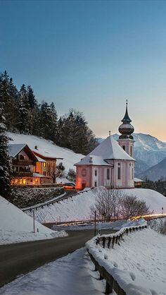 Bavaria ~ Germany Photo about Maria Gern Church in Bavaria with Watzmann, Berchtesgaden in Germany Alps. Winter Wonderland Pictures, The Places Youll Go, Places To Go, Beautiful World, Beautiful Places, Winter Szenen, Photos Voyages, Snow Scenes, Bavaria Germany