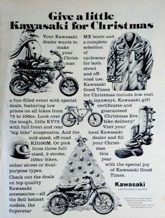 Vintage Kawasaki Motorcycle Holiday Christmas Ad on Etsy