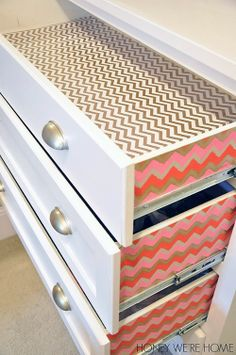 "0UHeart Organizing: Making Up Pretty Organization ""I lined the bottom with gift wrap from Target.  It goes well with the chevron paper on the side of the drawers. The drawer liner is just placed in the drawer, not glued down, so it's not permanent. The paper on the sides of the drawers is in place with spray adhesive."""