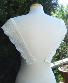 Plain Straps cap sleeves Ivory Lace Scallop by icoutureicouture