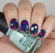 Geometric square stain glass nails green purple mint pink nails manicure