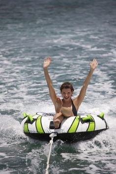 She's definitely having #FunInTheSun. We're already counting down the days until it's #tubing season again..