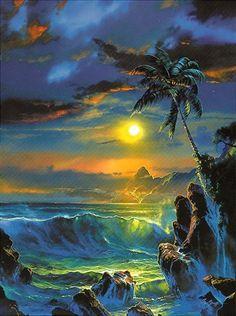 Night landscapes by artist Dale Terbush Seascape Paintings, Landscape Paintings, Hawaiian Art, Tropical Art, Beautiful Moon, Fantasy Kunst, Surf Art, Fantasy Landscape, Ocean Art