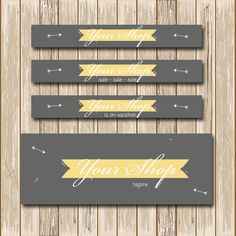 Etsy shop banner Etsy shop set Facebook set Grey and yellow with arrows and ribbon