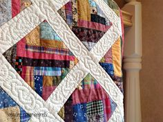 Mile a minute quilt 007 Quilting 101, Free Motion Quilting, Hand Quilting, Machine Quilting, Quilting Projects, Quilting Designs, Quilting Ideas, Sewing Projects, Scrappy Quilts