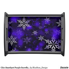 Chic Amethyst Purple Snowflake Motif Serving Tray Holiday Cards, Christmas Cards, Christmas Decorations, Natural Wood Finish, Christmas Items, Holiday Treats, Christmas Card Holders, Keep It Cleaner, Snowflakes