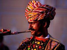 Inde, India, Joueur de trompette, Jaïpur  (Philippe Guy)
