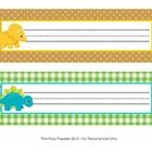 These sweet name plates are great for a dinosaur theme classroom.   They measure 10 inches wide by 3 inches tall. Print onto cardstock, write stude...