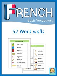 This set has 52 French word walls for your FLE lessons. They are a great visual help for introducing French vocabulary and cover all major topics from adjectives to weather. Visit my store and download the preview for more information.