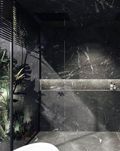 Black marble bathroom overlooking a patio with a tropical touch. By Dieter Vander Vel … Black marble bathroom facing a patio with a tropical touch. By Dieter Vander Velpen Architects. / marble by Il Granito - Marble Bathroom Dreams Luxury Master Bathrooms, Bathroom Design Luxury, Amazing Bathrooms, Bathroom Interior, Master Baths, Bathroom Furniture, Marble Furniture, Tropical Bathroom, Small Bathroom