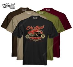 Velocitee Mens T-Shirt Old Skool Hot Rat Rod Muscle V8 Retro 50's W15730 #VelociteeSpeedShop