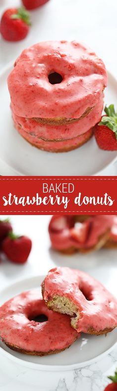 Lightened up with Greek yogurt, these fresh Strawberry Baked Donuts feature an ultra thick pink strawberry glaze and come together in just 35 minutes! No artificial flavors.