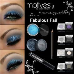 Loving this blue glitter eye shadow look! You can purchase the products here: http://www.motives.marketamerica.com/cashback24
