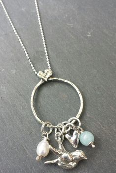 Sterling silver pmc bird heart pearl and by HLbespokesilver, £79.00