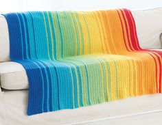 Spectrum Afghan Pattern - The Crochet Crowd Crochet Afghans, Crochet Stitches, Crochet Blankets, Striped Crochet Blanket, Crochet Home, Knit Or Crochet, Free Crochet, Chrochet, Crochet Baby
