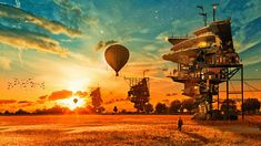 Houses Aerostat Fantasy balloon steampunk wallpaper | 1920x1080 | 195720 | WallpaperUP
