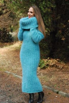 Hand Knitted Mohair SWEATER DRESS Thick Cowlneck Pullover Long by SSEu #SuperSweatersEurope #CowlNeck