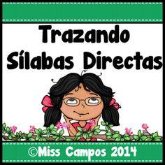 Trazando silabas iniciales (silabas directas) en espanol. Ideal para preescolar y kindergarten. Se incluye silabas comunes como: ma me mi mo mu, pa pe pi po pu, sa se si so su, la le li lo lu y mas!