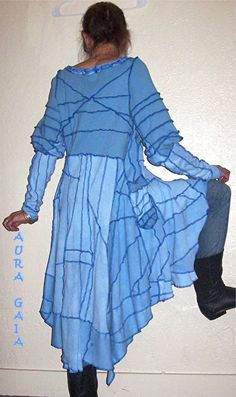 AuraGaia ~Moonglow~ Tiered Tunic Dress Hand Dyed Upcycled Serger Madness S-M