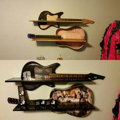 Repurposed guitars into shelving