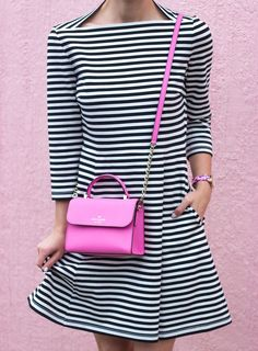 LivvyLand x Kate Spade New York 'everyday dress' in stripes with a 'rouge pink' handbag!