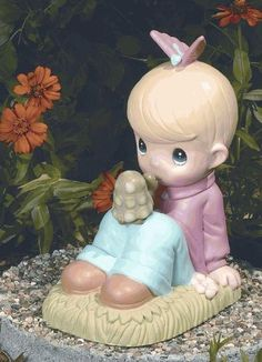 Awesome Precious Moments Boy With Turtle Garden Statuary By CobraCo, Http://www.