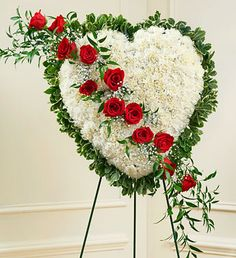 Order Always in My Heart Floral Heart - Red flower arrangements from All Flowered Up Too, your local Lubbock, TX florist. Send Always in My Heart Floral Heart - Red floral arrangement throughout Lubbock and surrounding areas. Funeral Floral Arrangements, Creative Flower Arrangements, Church Flowers, Funeral Flowers, Casket Flowers, Bleeding Heart Flower, Funeral Sprays, 800 Flowers, Memorial Flowers