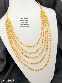 Necklaces & Chains WOMEN 'S MICRO GOLD PLATED 5 LAYERD CHAIN Base Metal: Brass Plating: Gold Plated Stone Type: Agate Sizing: Long Type: Layered Multipack: 1 Sizes: Country of Origin: India Sizes Available: Free Size   Catalog Rating: ★4.1 (5848)  Catalog Name: Sizzling Graceful Women Necklaces & Chains CatalogID_1654742 C77-SC1092 Code: 602-9423605-924