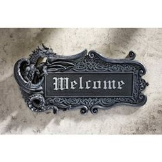 Amazon.com: Gothic Medieval Dragon Welcome Wall Door Plaque Sculpture: Home & Kitchen